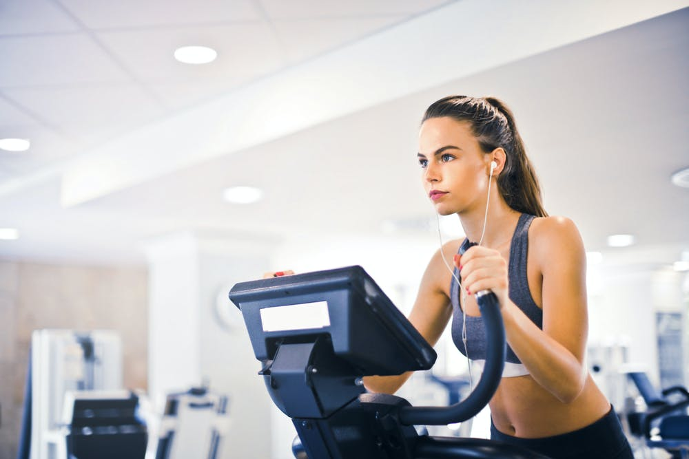 woman using a treadmill