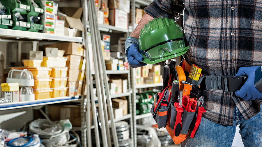 Electrician in an electrical supply store