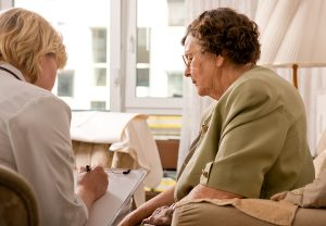 Old woman getting the best aged care advice